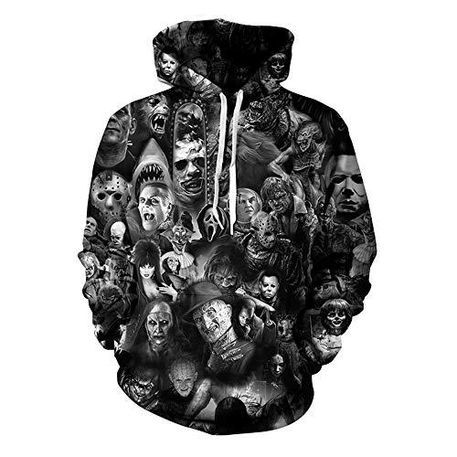 Yolanda Medina Unisex Hoodies 3D Drucken Horror Clown Paar Pullover Sweatshirt, Hot Movie Halloween 3D Hoodie Sweatshirt Langarm Herbst Winter Sportswear Pullover Mantel für Männer Frauen