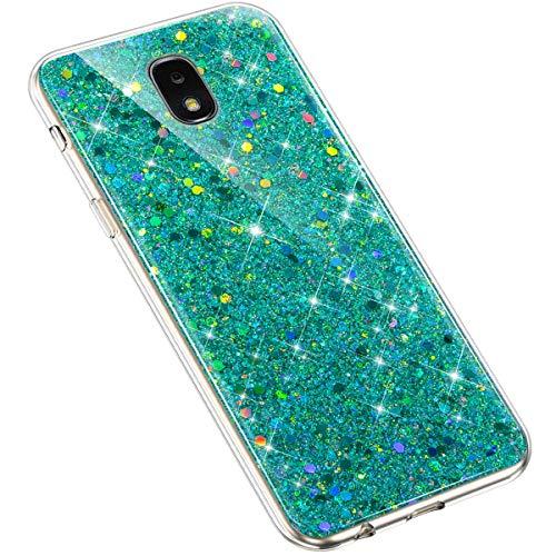 Uposao Samsung Galaxy J3 2018 Coque Glitter de, Bling Gliter Strass Paillettes Coque Transparent Cristal Scintilla Silicone TPU Souple Housse Etui de Protection Coque pour Galaxy J3 2018,Vert