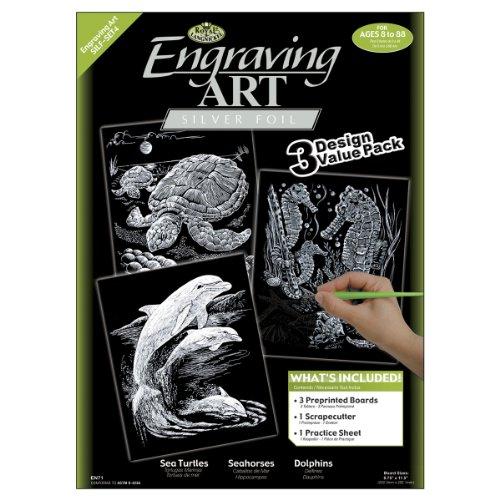 "Foil Engraving Art Kit Value Pack 8.75""X11.5""-Silver - Turtle, Sea Horse &"