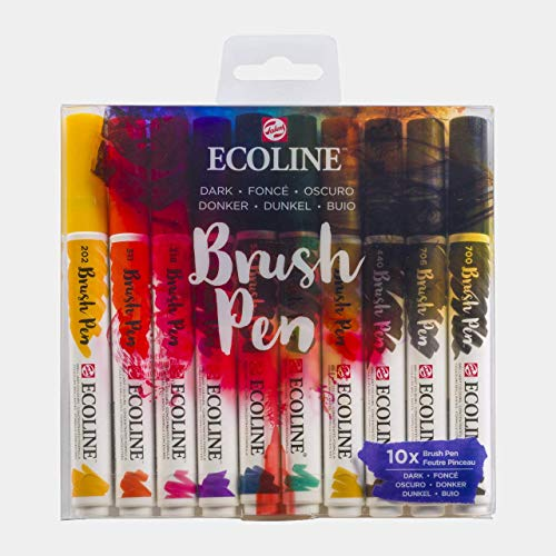 Ecoline Brush Pen Set of 10, Dark Colors (11509802)