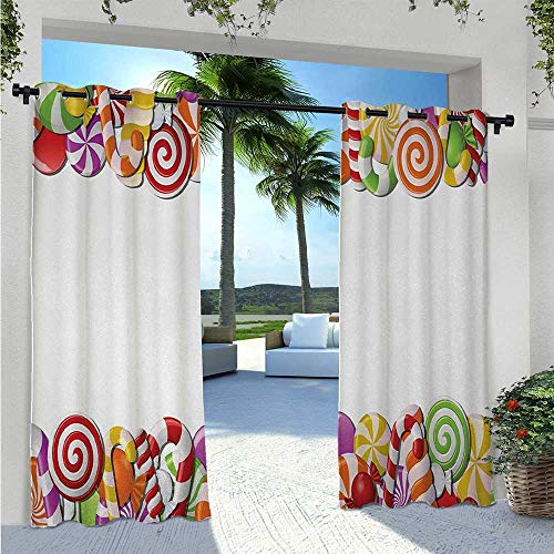 Adorise Blackout Curtains Festive and Fun Framework with Colorful Cartoon Sweet Snacks Holiday Celebration Elegant Waterproof Curtain Works Well with Your Patio Multicolor W96 x L84 Inch