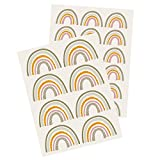 Y004 Regenbogen Wandtattoo Wandsticker Aufkleber für Kinderzimmer Babyzimmer (Grün/Orange)