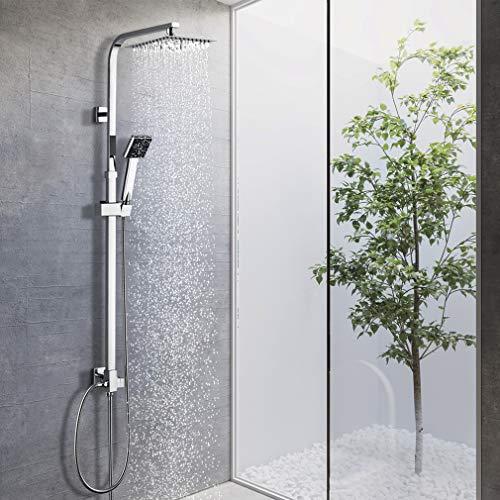 BONADE Duschsystem Regendusche ohne Armatur Duschsäule Edelstahl Duschset inkl verstellbare Duschstange, Duschkopf und Handbrause, Bad Dusche für die Wandmontage