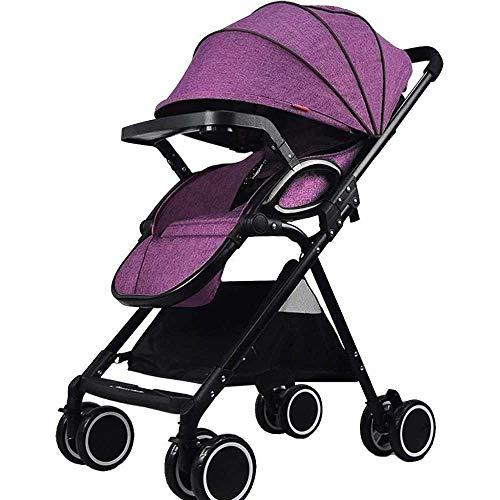 Atten Cochecito de bebé Ligera compacta Silla de Paseo con antichoque del recién Nacido resortes Ajustables Altos Ver Cochecito Infantil de Carro Buggy (Color : Purple)
