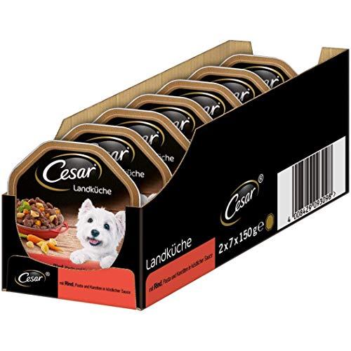 Cesar Hundefutter Nassfutter Landküche mit Rind, Pasta und Karotten in köstlicher Sauce, 14 Schalen (14 x 150g)