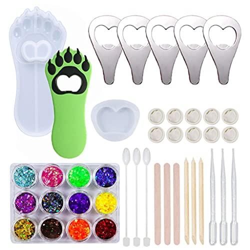 Dedepeng Molde de silicona, abrebotellas, molde de silicona, molde de resina, molde de resina para manualidades, para joyas de epoxi, llavero, decoración, manualidades