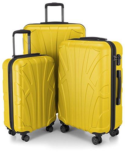 Suitline 3er Koffer-Set Trolley-Set Rollkoffer Hartschalen-Koffer Reisekoffer, TSA, (55 cm, 66 cm, 76 cm), 100{c91fe638f09fbbaaa67c8bd46dce673ab4bf98bfc525a6852d0e7708a240f1b3} ABS, Matt, Gelb