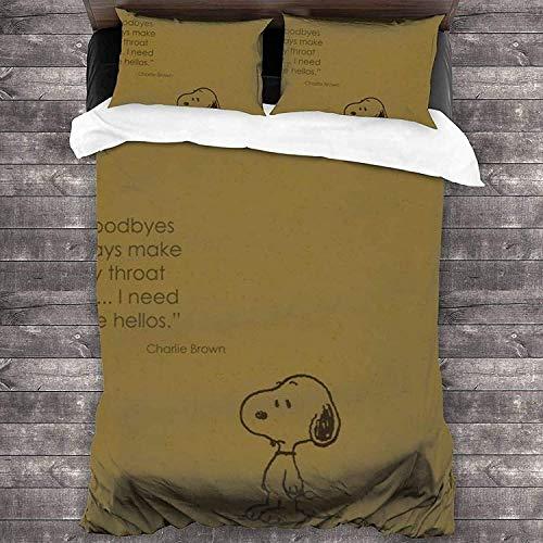 QWAS Snoopy - Funda nórdica de microfibra para decoración de dormitorio para niños y niñas (x01, 135 x 200 cm + 50 x 75 cm x2)
