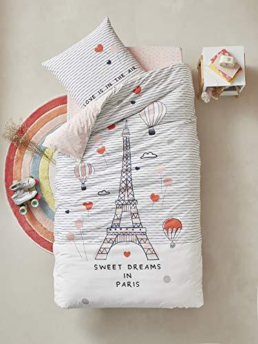 Vertbaudet - Juego de funda nórdica y funda de almohada para niños, 140 x 150 cm, funda de edredón de 63 x 63 cm, diseño de Reve a París, color rosa y multicolor