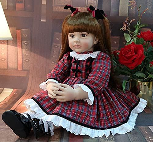 60Cm Reborn Toddler Princess Silicona Vinilo Realista Reborn Baby Dolls Niño Niña Bonita con Pelo Largo, Juguete de Regalo de cumpleaños para Mayores de 3 años