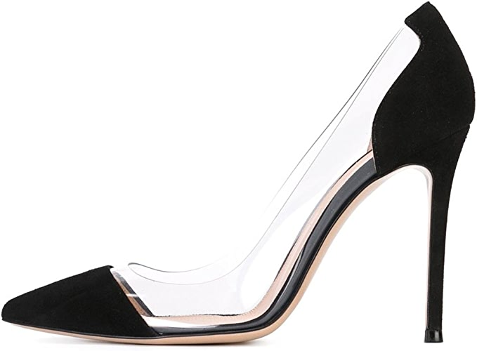 DYF Chaussures Femmes Nue, de Pointes Fines Transparent Haut Talon 10 cm,Bureau,noir,38