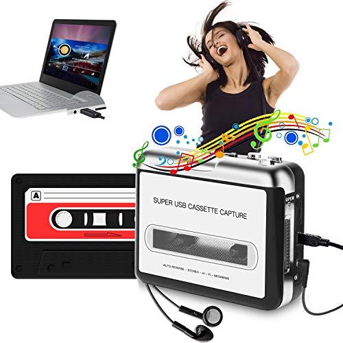 HIMM, lettore di cassette portatile, convertitore da USB a MP3 da Himm, lettore a nastro retrò, convertitore da nastro a MP3 e registratore di cassette con auricolari, non richiede PC