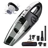 Audew Handheld Vacuums Cordless, Portable Handheld Vacuum Cleaner with Powerful Suction, 120W Rechargeable Car Vac, Handheld hoover, Lightweight Wet Dry Vacuum for Home, Car and Pet (Black &White)