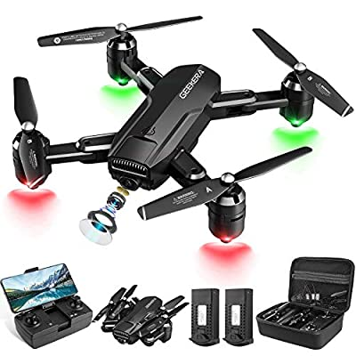 Drones with Camera, GEEKERA 1080P HD FPV RC Foldable Drone for Adult with Live Video, Wide-Angle, Selfie, 3D Flips, Gravity Sensor, Tap Fly, Altitude Hold, Headless Mode, Carrying Case, 2 Batteries from Geekera