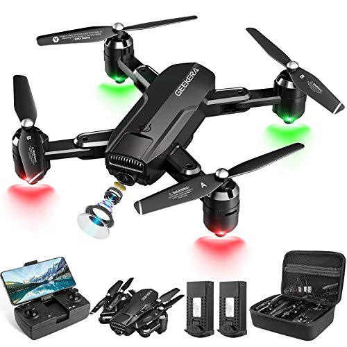 Drones with Camera, GEEKERA 1080P HD FPV RC Foldable Drone for Adult with Live Video, Wide-Angle, Selfie, 3D Flips, Gravity Sensor, Tap Fly, Altitude Hold, Headless Mode, Carrying Case, 2 Batteries