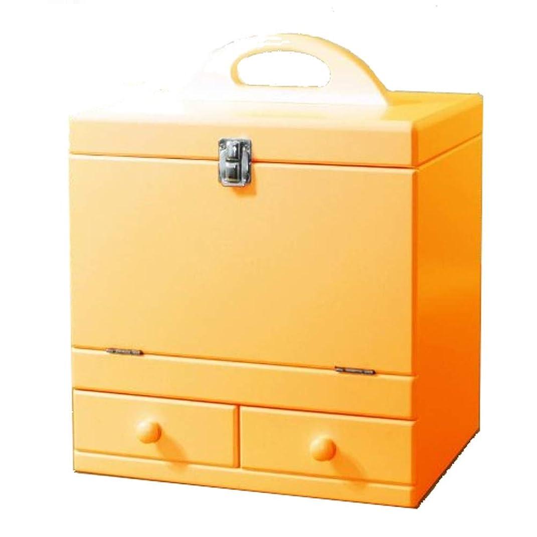 省略するから量でメイクボックス 三面鏡付き(色:ナチュラルオレンジ) tu-852 カラフルコスメボックス