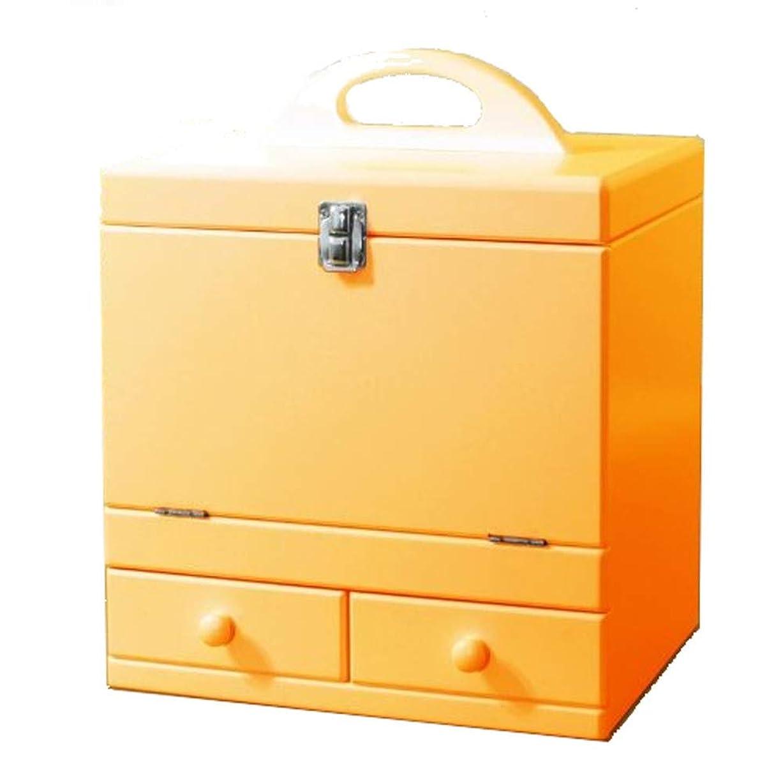 盲信家主症候群メイクボックス 三面鏡付き(色:ナチュラルオレンジ) tu-852 カラフルコスメボックス
