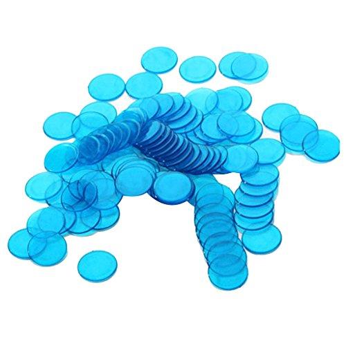 Generic 100pcs Bingo Chips Spielmarken Spielchips Zählchips Chip-Poker aus Kunststoffe - Blau, 3cm