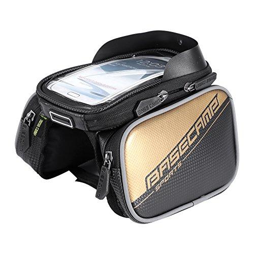 Topincn Fietstas stuurtas waterdicht voorframe tas telefoonhouder touchscreen met dubbele ritssluiting goud