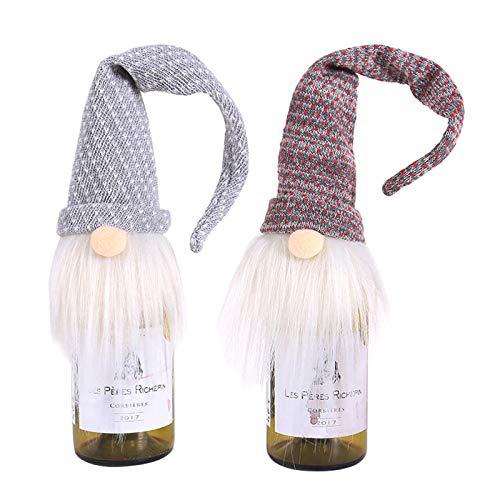sylbx 2 Piezas Tapa de Botella de Vino de Navidad Decoración Navidad Botella Vino Bolsa Navideña Bolsa de Regalo de Vino de Botella de Vino Decoración de Mesa