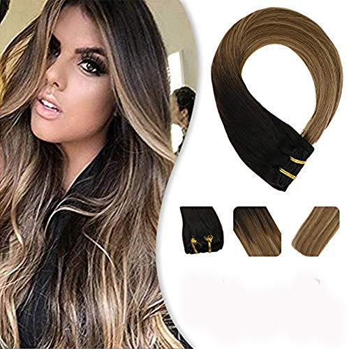 YoungSee Clip in Extensions Echthaar Balayage Braun Gesträhnt mit Blond Remy Human Hair Voller Kopf Clip in Haarverlängerung 7pcs/120g 35 cm