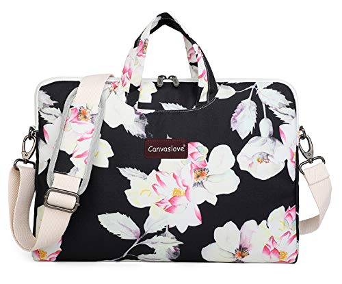 Canvaslove Lotus Pattern Waterproof Laptop Shoulder Messenger Case Sleeve Bag For Macbook Retina 12 inch,Macbook Pro Air 13 inch,iPad Pro 12.9 inch and 11 inch 12.5 inch 13.3 inch Laptop