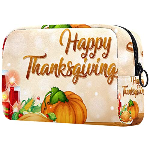 KAMEARI Bolsa de cosméticos Feliz Fiesta de Acción de Gracias Calabaza Turquía Vino Manzanas Cor Grande Bolsa de Cosméticos Organizador Multifuncional Bolsas de Viaje