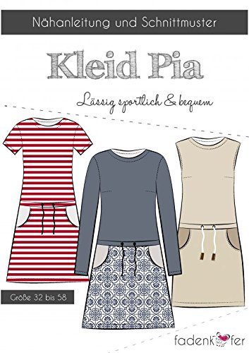 Stoffe Werning Schnittmuster Fadenkäfer Kleid Pia - Damen in den Größen 32 bis 58 Papierschnittmuster