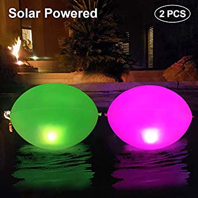 """Cootway Solar Pool Lights Inflatable 2 PCS, 17"""" IP68 Waterproof Floating Egg Solar Light, Outdoor Color Changing LED Pond Lamp, Hanging Glow Night Lights for Party Garden Backyard Swimming Pool"""