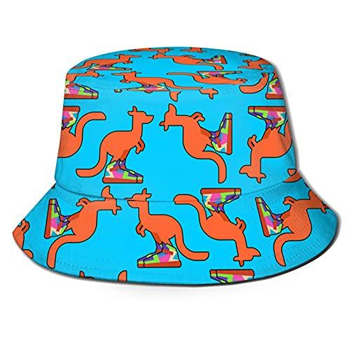 Wardrobe color Sombrero del cubo de la moda, canguro en las zapatillas de deporte, sombrero lindo al aire libre plegable de ala ancha sombrero de pescador