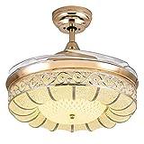 FUSKANG 36/42/52 pulgadas moderna invisible techo retráctil de la lámpara LED de la lámpara del ventilador con 4 cuchillas retráctil de techo Luces Ventilador cambio tricolor lámparas pendientes con c