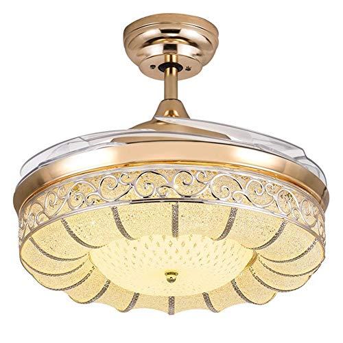 QCLU 36/42/52 pulgadas moderna invisible techo retráctil de la lámpara LED de la lámpara del ventilador con 4 cuchillas retráctil de techo Luces Ventilador cambio tricolor lámparas pendientes con cont