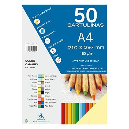 Dohe 30093 - Pack de 50 cartulinas, A4, color canario