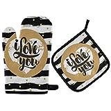 Happy Valentines Day Hearts Manoplas de Horno Te Amo Te Amo Manoplas de Horno Suaves y Resistentes al Calor Extremo Juego de Guantes de Horno para Cocina casera