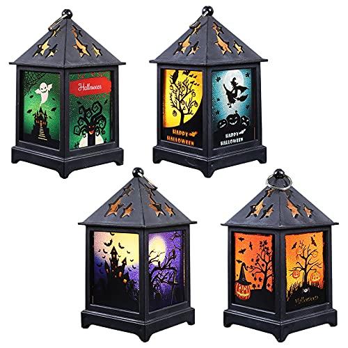 Iluminación original con 4 cajas linternas con distintos colores – efecto vela LED, funciona con pilas