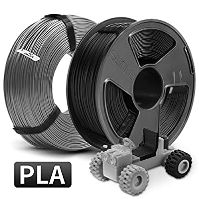 PLA 3D Printer Filament, SUNLU PLA Filament 1.75mm, Dimensional Accuracy +/- 0.02 mm, 1 kg Spool, 1.75mm, MasterSpool PLA Black+Grey 2kg
