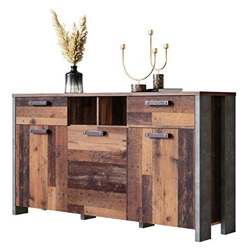 Newfurn Kommode Betonoptik Dunkelgrau Old Wood Sideboard Vintage Industrial - 156,4x86,3x41,6 cm (BxHxT) - Highboard Anrichte - [Kane.Seven] Wohnzimmer Schlafzimmer Flur Esszimmer