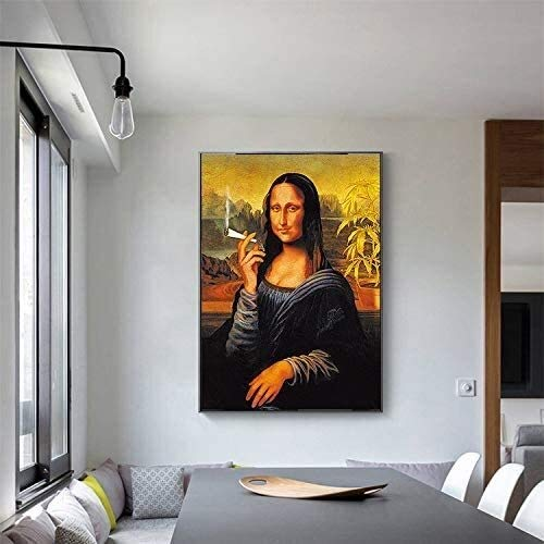 MENG Funny smoking woman with famous oil painting posters and prints on the wall decoration on canvas,Frameless painting-40X60cm,Size:40X60cm,Colour:A Background wall painting