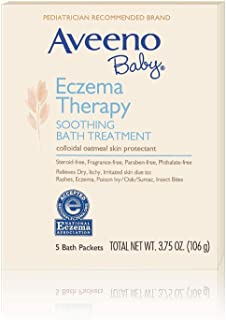 Aveeno Baby Eczema Therapy Soothing Bath Treatment with Soothing Natural Colloidal Oatmeal, 5 ct. (Pack of 2)