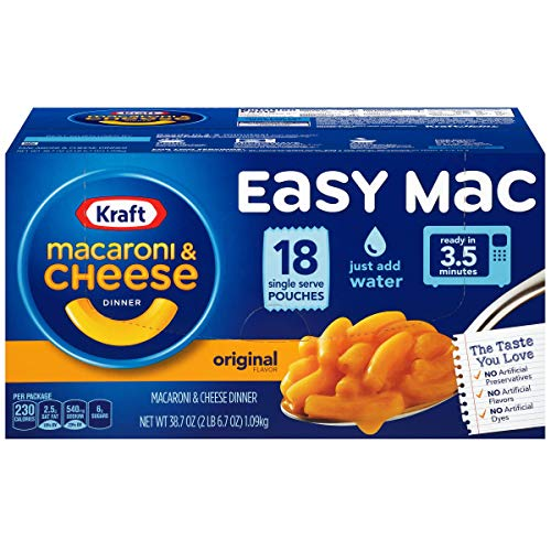 Kraft Easy Mac Microwavable Macaroni & Cheese (6.7oz Packets, Pack of 18), Set of 4