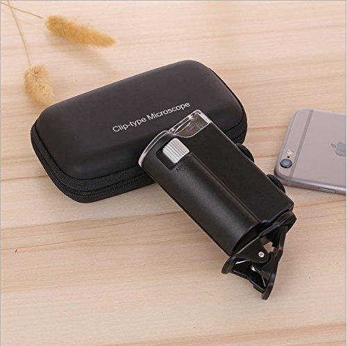 Waymeduo Mini Microscopio Monoculo con Luz Led y Lupa con luz UV para