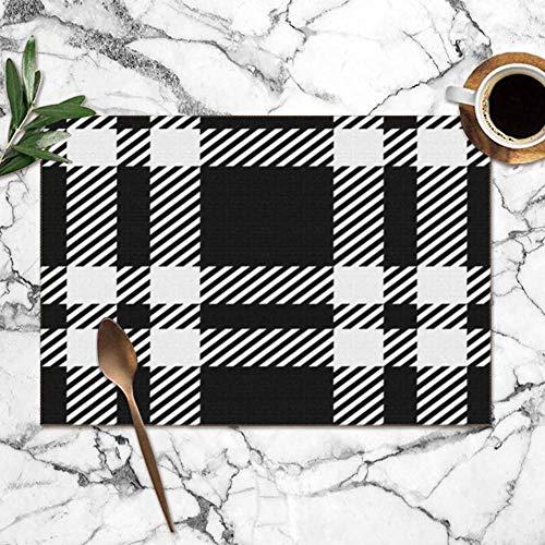 Tartan Tartan Placemats voor eettafel, dubbele stof, bedrukt, polyester, voor keuken, tafel, set met 6 tafelkleden, 30,5 x 45,7 cm