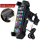 Motorcycle Phone Mount with Charger 5V 2.4A USB Port Install on Handlebar Mirror Bar. Leepiya Cell Phone Holder Suit for...