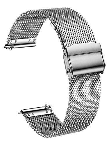 XIRUVE Correa de Reloj de Malla, Compatible con el Garmin Vivoactive 4S 40mm/Vivomove 3S 39mm, Acero Inoxidable 18mm Reemplazo Liberación Rápida