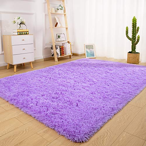 Ucomn Super Soft Indoor Modern Shag Area Rug Bedroom Silky Smooth Rugs Fluffy Anti-Skid Shaggy Area Rug Dining Living Room Kids Carpet (4' x 6', Purple)