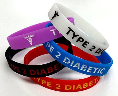 5 x tipo 2 Diabetes Diabetes pulsera Size XL médica sensibilización pulsera de Alerta (brilla en la oscuridad), color rojo, negro, morado, azul