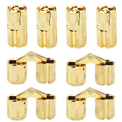 Messing Verdeckte Scharnier,Xiuyer 8 Stück Unsichtbare Barrel Scharnier 180 ° Öffnungswinkel Einbohrscharnier Zubehör für DIY Schmuckschatulle Hand Handwerk (10 mm, Golden)