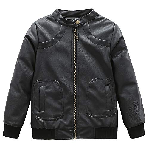 Grandwish Jungen Künstlich Lederjacke für Kinder Mantel Schwarz 140-146