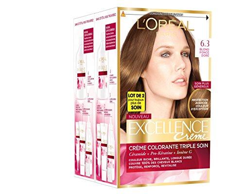 L'Oréal Paris - Excellence Crème - Coloration Permanente Triple Soin 100% Couverture Cheveux Blancs - Nuance 6,30 Blond Foncé Doré - Lot de 2