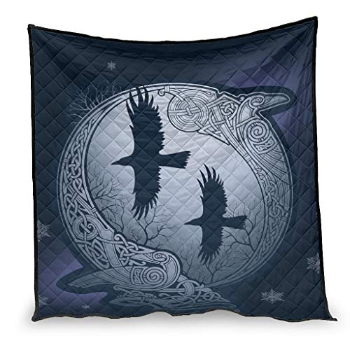 Josephion Colcha de verano Viking Odins Ravens cómoda cálida manta para oficina blanca 200 x 230 cm